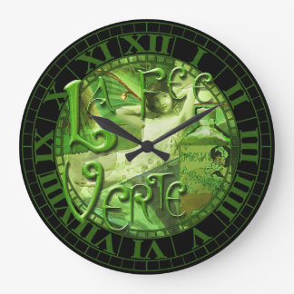 Absinthe Fairy Collage 4 Large Clock