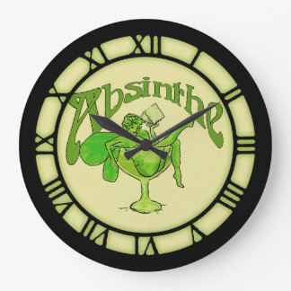 Absinthe Fairy In Glass Large Clock