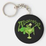 Absinthe Girl In Glass Basic Round Button Keychain