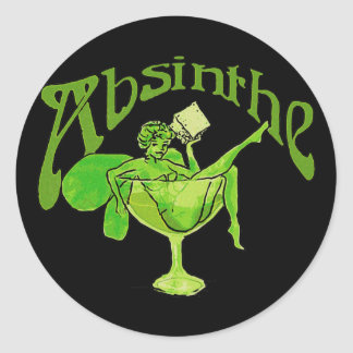 Absinthe Girl In Glass Classic Round Sticker