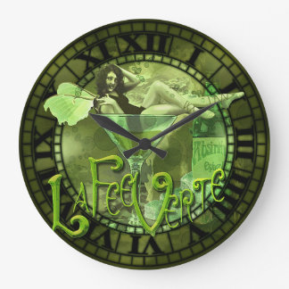 Absinthe Girl In Glass Collage Large Clock