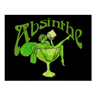 Absinthe Girl In Glass Postcard