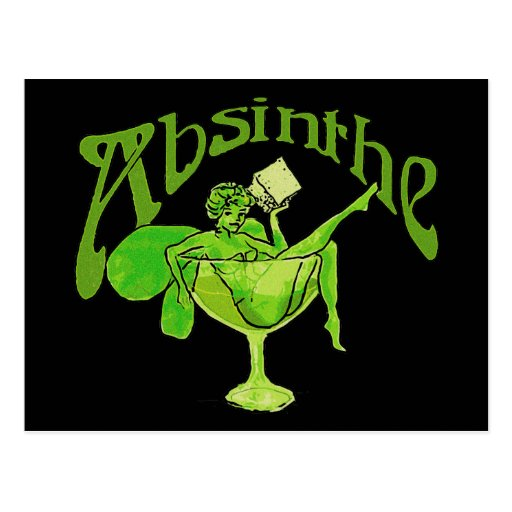 Absinthe Girl In Glass Postcard
