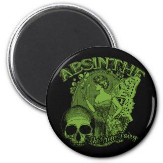 Absinthe Green Fairy Lady 2 Inch Round Magnet