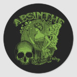 Absinthe Green Fairy Lady Classic Round Sticker
