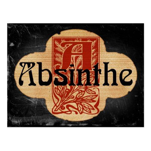 Absinthe Imaginary Bottle Lable Postcard