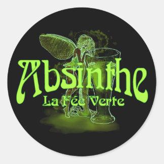 Absinthe La Fee Verte Fairy With Glass Classic Round Sticker
