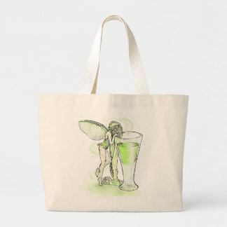 Absinthe La Fee Verte Fairy With Glass (no text) Large Tote Bag