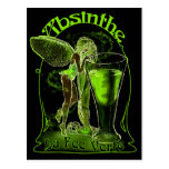 Absinthe La Fee Verte Fairy With Glass Post Card