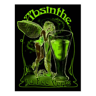 Absinthe La Fee Verte Fairy With Glass Postcard