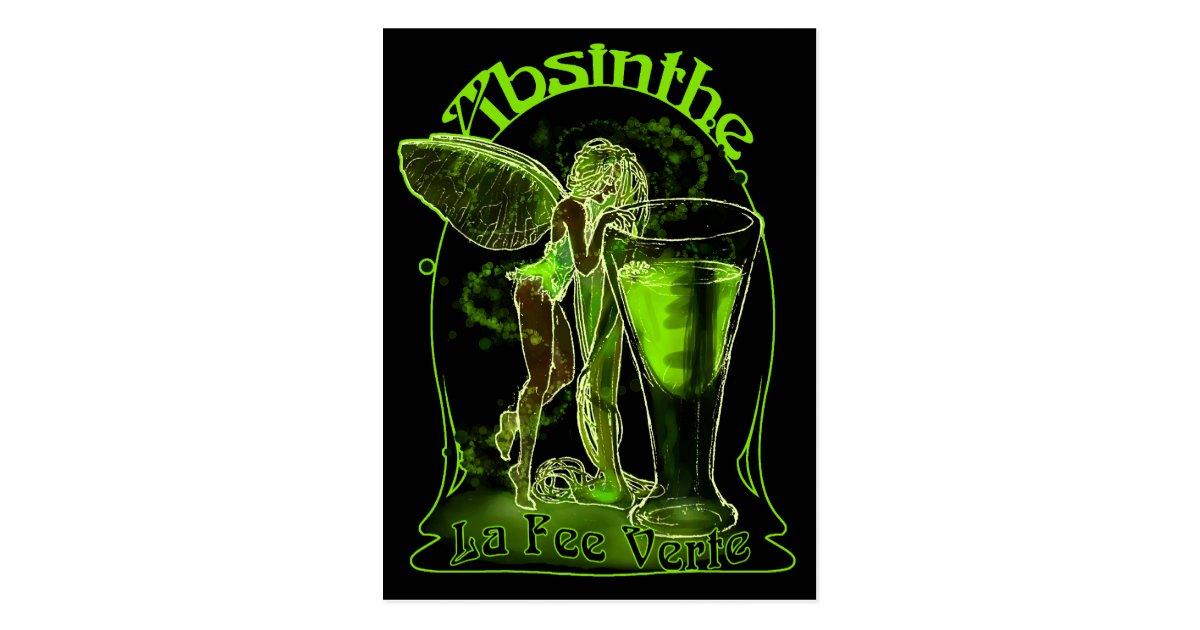 Absinthe La Fee Verte Fairy With Glass Postcard Zazzle Com