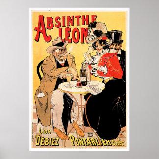 Absinthe Leon Vintage Wine Drink Ad Art Posters