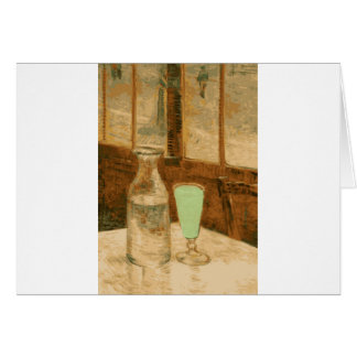 Absinthe Neon Green Glass and Bottle Card