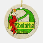 Absinthe Ophelie Woman in Red Dress Christmas Ornament