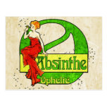 Absinthe Ophelie Woman In Red Dress Postcards