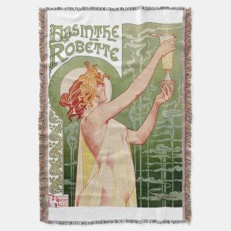 Absinthe Robette 1896 Vintage Poster Restored Throw Blanket