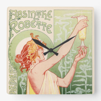 Absinthe Robette - Alcohol Vintage Poster Square Wall Clock