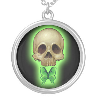Absinthe Skull NECKLACE green butterfly gothic