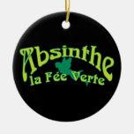 Absinthe Text La Fee Verte Christmas Ornaments