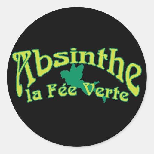 Absinthe Text La Fee Verte Round Sticker