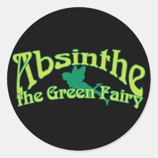 Absinthe Text The Green Fairy Classic Round Sticker