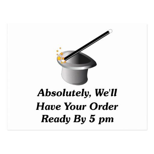 Absolutamente, tendremos su orden por 5 P.M. Tarjetas Postales
