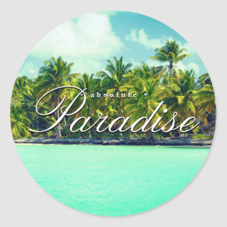 Absolute beach paradise classic round sticker