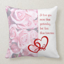 """Absolutely Beautiful 20""""x20"""" Pink Rose Throw Pillow"""