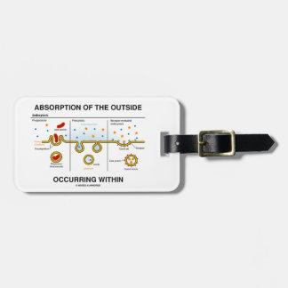 Absorción del exterior que ocurre dentro etiquetas para maletas