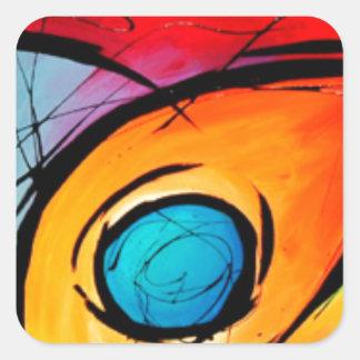 Absract enrrollado con colores y remolinos calcomania cuadradas personalizadas