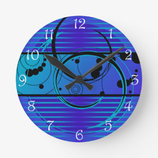 Abstact Blue Eclipse Round Clock