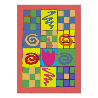 Abstact Design in Squares Poster