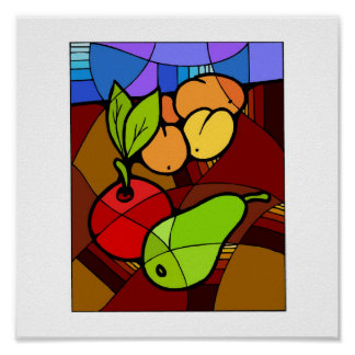 Abstact Fruit Kitchen Decor 15x15 Posters