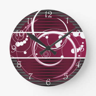 Abstact Red Eclipse Round Clock