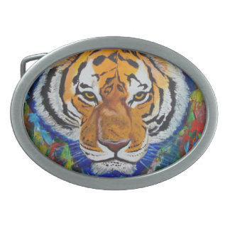 Abstact tiger oval belt buckle