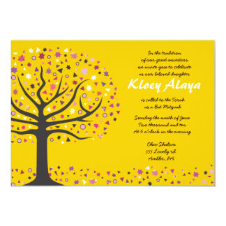 Abstact Tree of Life Bat Mitzvah Invitation Gold