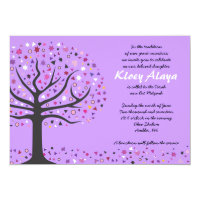 Abstact Tree of Life Bat Mitzvah Invitation Purple