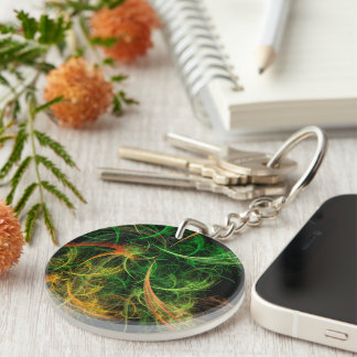 Abstarct Art Space Flowers Keychain