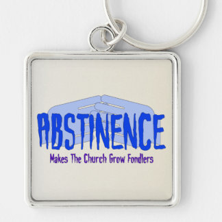 Abstinence Silver-Colored Square Keychain