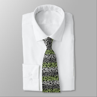 Abstrac green, grey and black horizontal stripes tie