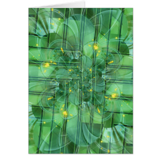 abstrac t pattern collage Flower green by Tutti Greeting Card