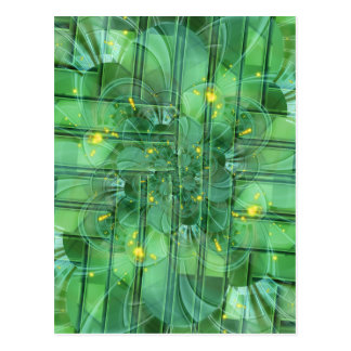 abstrac t pattern collage Flower green by Tutti Postcard