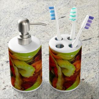 Abstracción colorida de la sopa vaso para cepillos de dientes