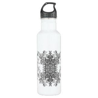 abstracción floral botella de agua de acero inoxidable