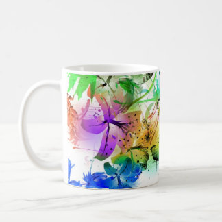 Abstracción floral taza básica blanca