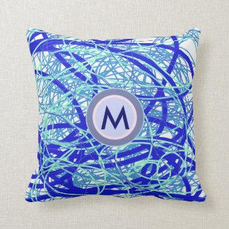Abstracción inicial del azul del monograma de M Cojín