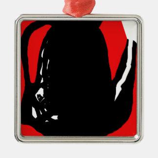 Abstracción negra y roja adorno navideño cuadrado de metal