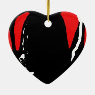 Abstracción negra y roja adorno navideño de cerámica en forma de corazón