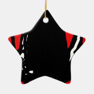 Abstracción negra y roja adorno navideño de cerámica en forma de estrella