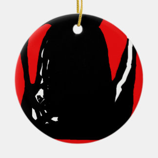 Abstracción negra y roja adorno navideño redondo de cerámica